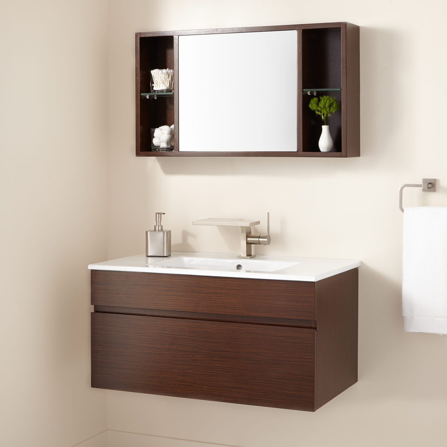 """Best ideas about Wall Mounted Bathroom Cabinets . Save or Pin 33"""" Dimitri Wall Mount Vanity and Mirrored Storage Bathroom Now."""