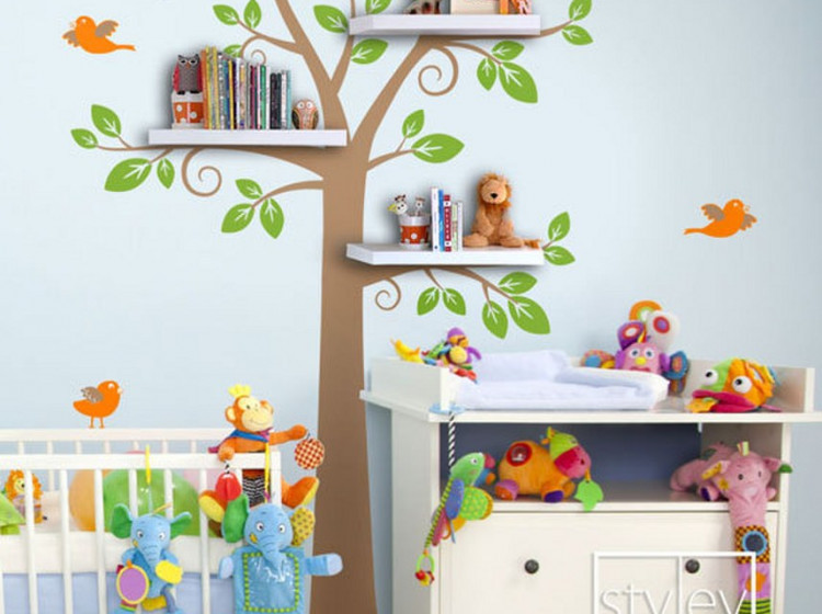 Best ideas about Wall Shelves For Kids Room . Save or Pin Children Wall Decal Shelves Tree Decal Shelf Tree Wall Now.