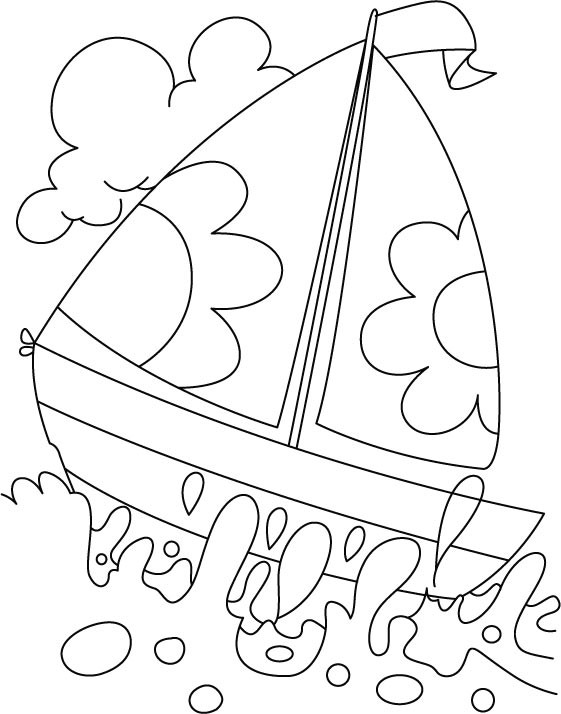 Water Coloring Books For Toddlers  A boat in deep water coloring page