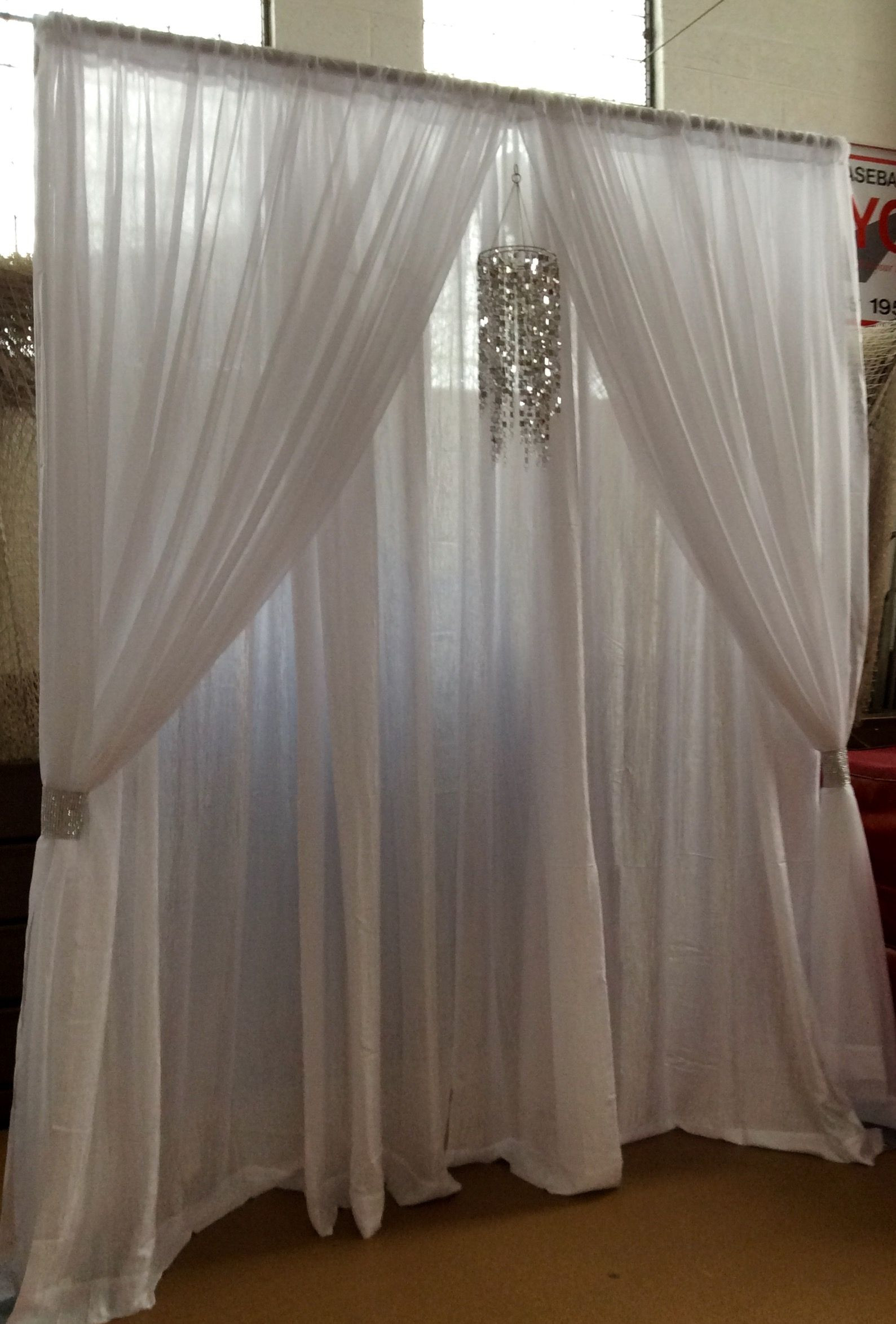 Best ideas about Wedding Drapes DIY . Save or Pin Wedding Event Backdrop Pipe & Drape White Chandelier Now.