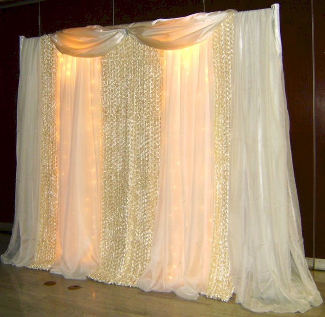 Best ideas about Wedding Drapes DIY . Save or Pin DIY Fabric Wedding Backdrop with Lights – OOSILE Now.