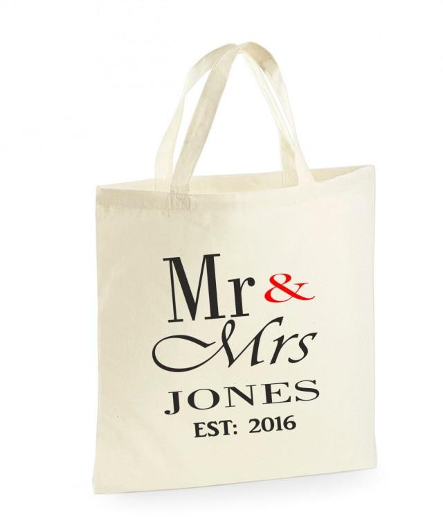 Best ideas about Wedding Gift Bag Ideas . Save or Pin PERSONALISED Mr & Mrs Bag Wedding Gifts For The Bride Now.