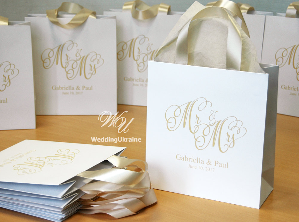 Best ideas about Wedding Gift Bag Ideas . Save or Pin 35 Champagne Wedding Wel e Bags with satin ribbon and names Now.