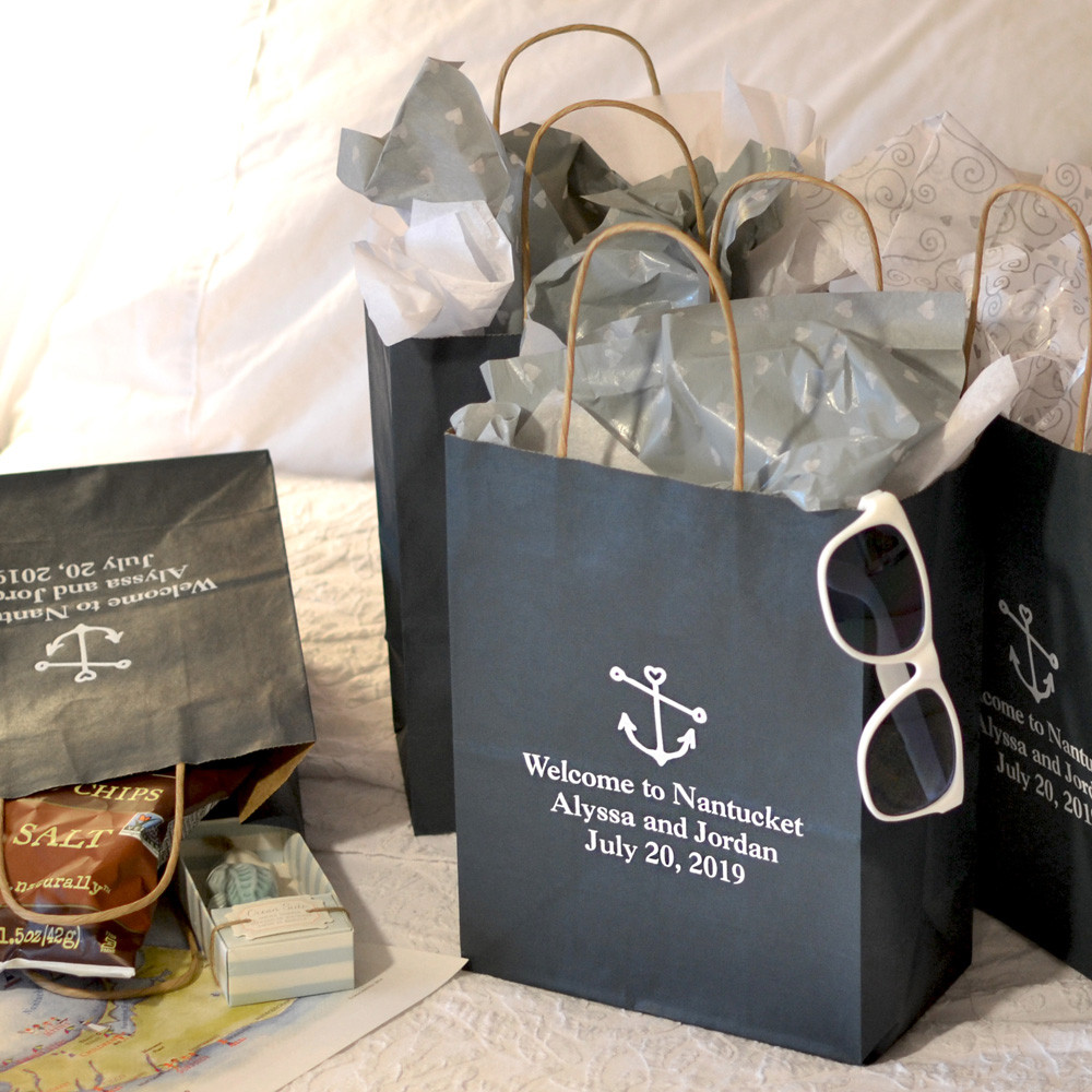 Best ideas about Wedding Gift Bag Ideas . Save or Pin 8 x 10 Kraft Wedding Hotel Gift Bags Personalized Now.
