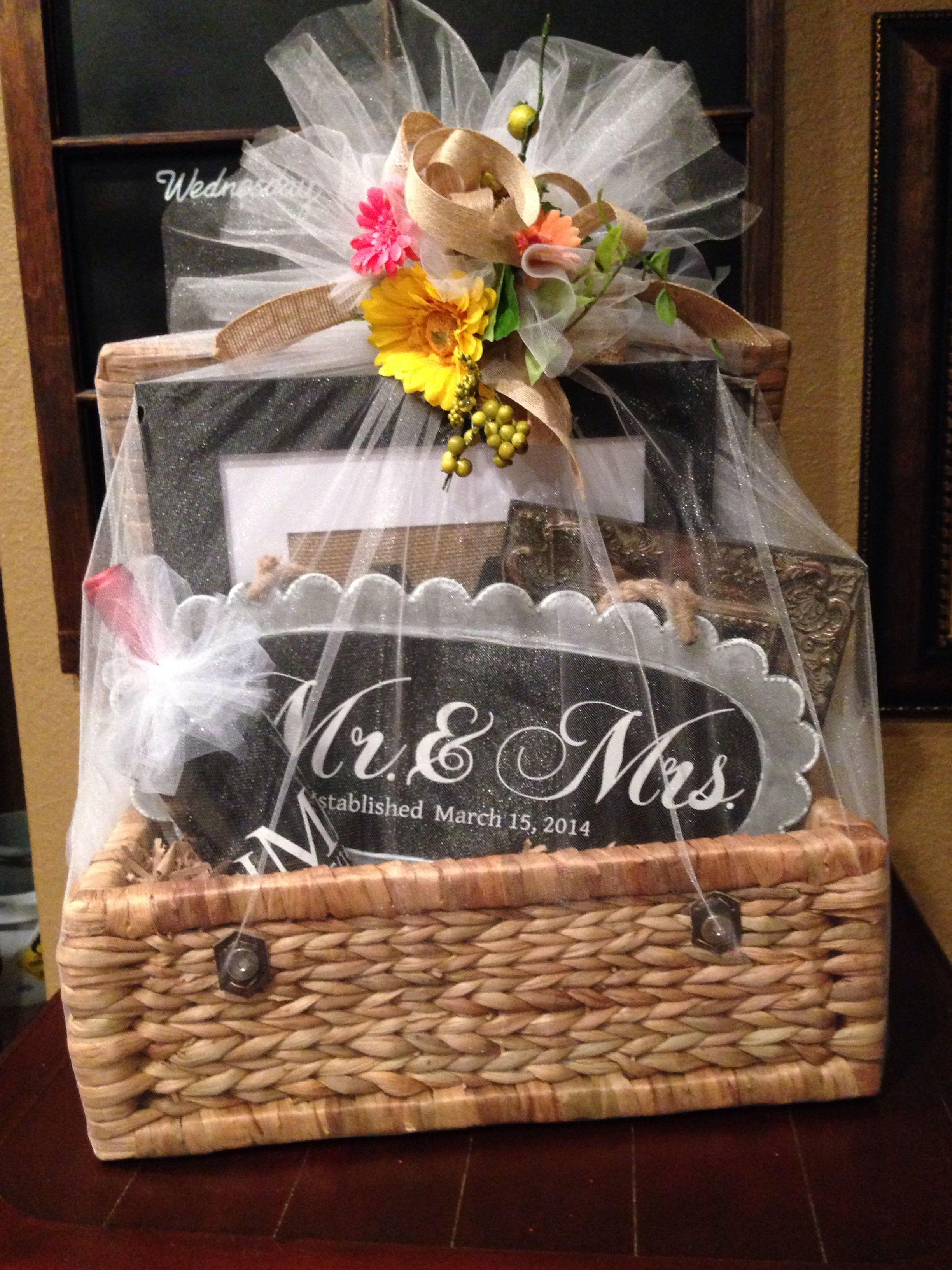 Best ideas about Wedding Gift Basket Ideas . Save or Pin Wedding t basket filed with personalized ts made Now.