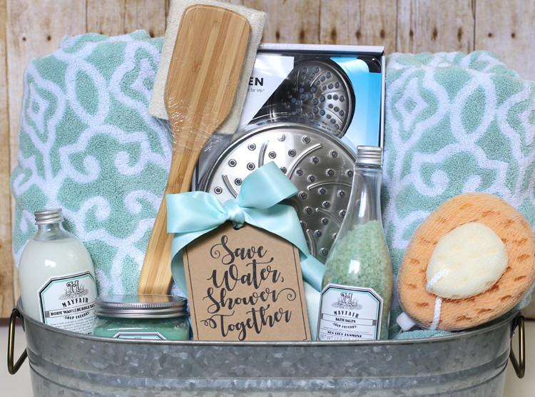 Best ideas about Wedding Gift Basket Ideas . Save or Pin Shower Themed DIY Wedding Gift Basket Idea Now.