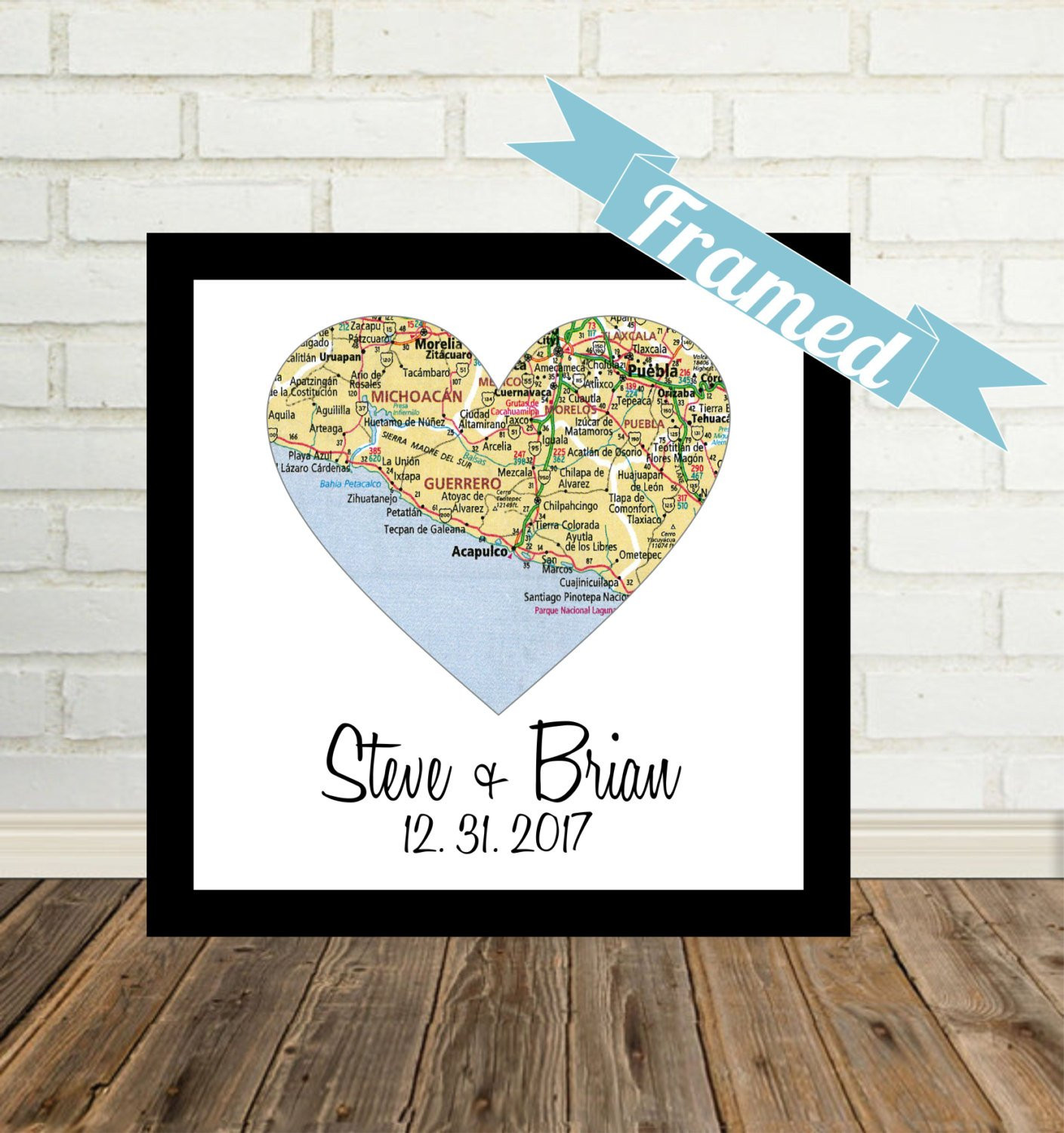 Best ideas about Wedding Gift Ideas For Gay Couple . Save or Pin Unique Gay Wedding Gift for Gay Couple Map Art FRAMED Heart Now.