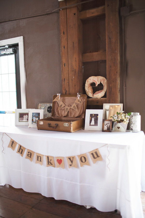 Best ideas about Wedding Gift Table Ideas . Save or Pin A vintage suitcase and burlap bunting decorated the t Now.