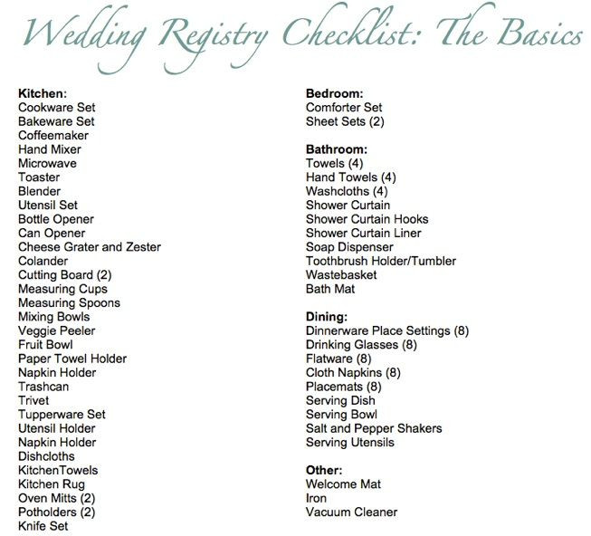 Wedding Registry Gift Ideas  8 best images about Wedding Registry Checklist on