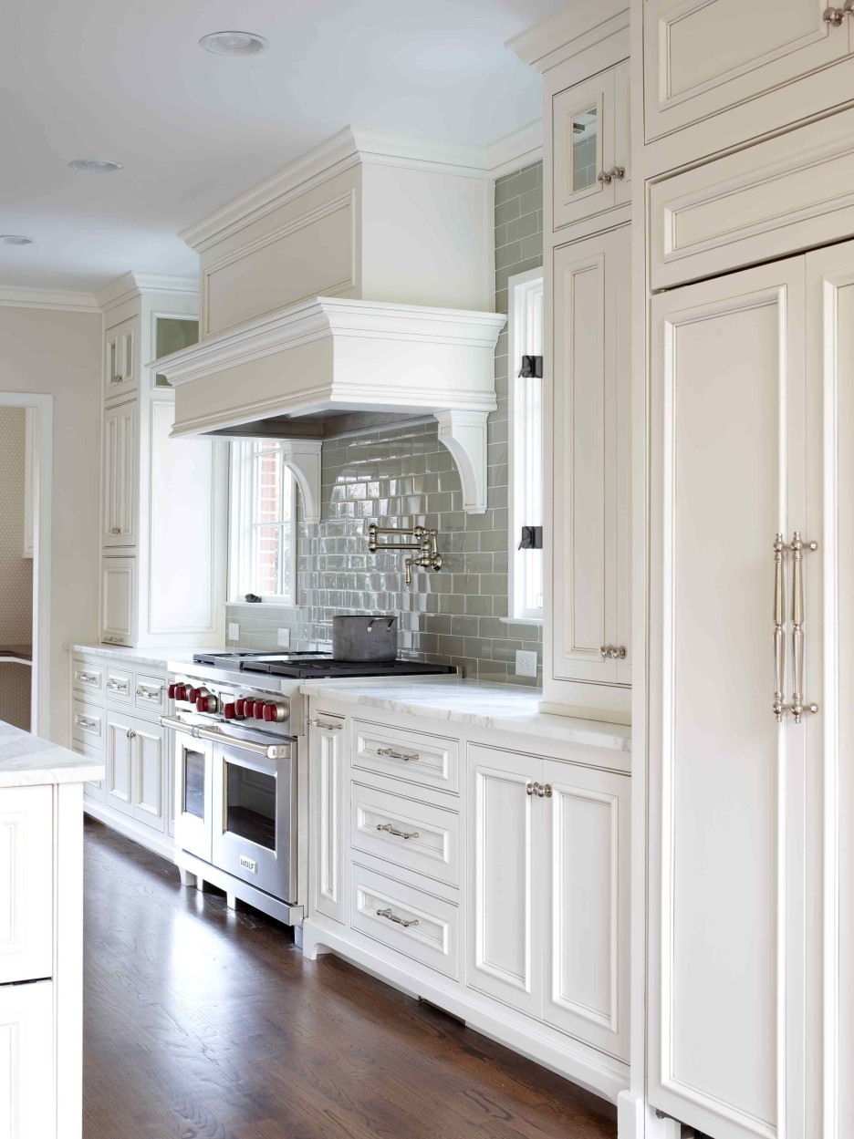 Best ideas about White And Grey Kitchen Ideas . Save or Pin White Gray Glaze Kitchen Island With Gray Marble Counter Now.