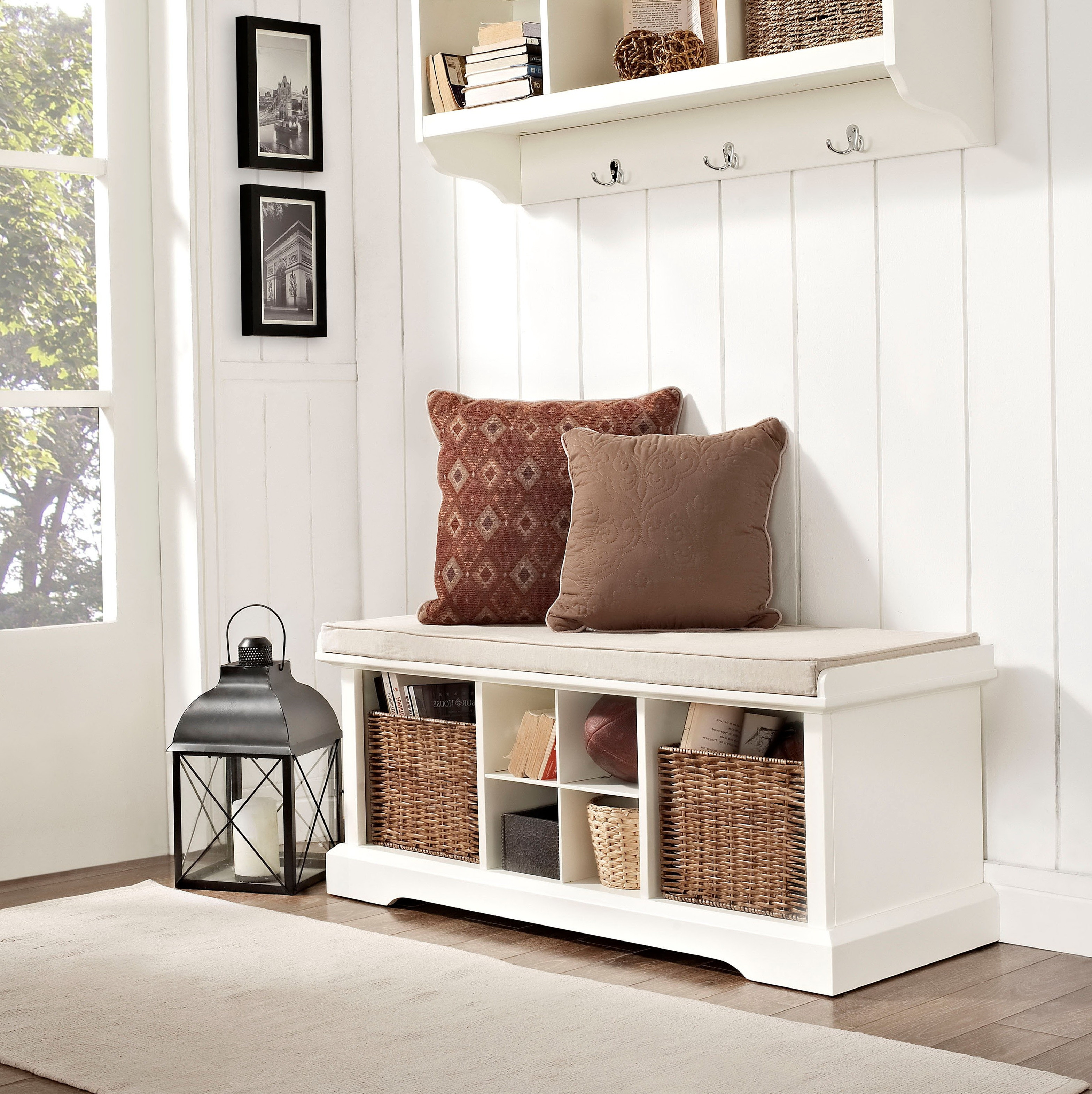 Best ideas about White Entryway Bench . Save or Pin White Storage Bench With Cubbies Now.