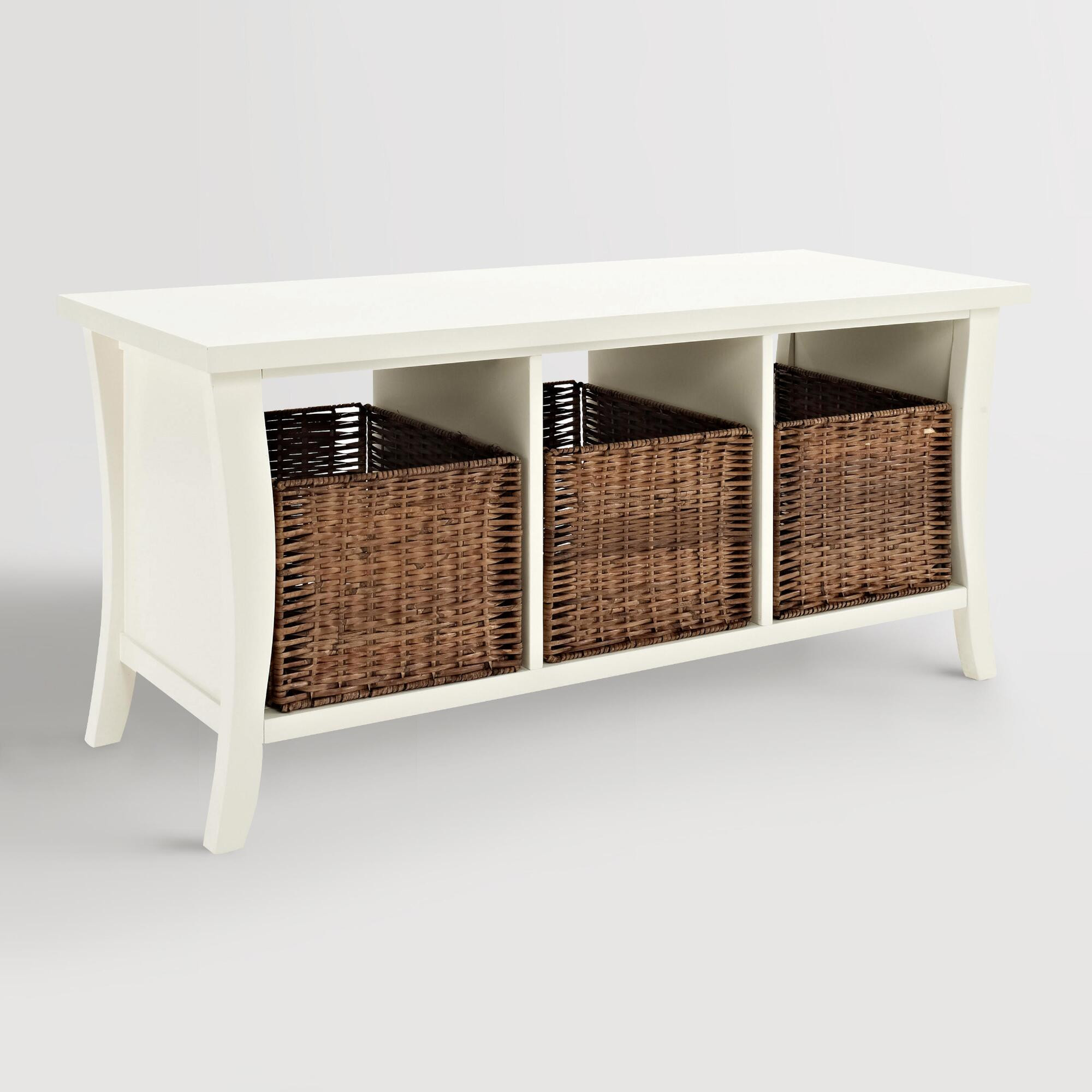 Best ideas about White Entryway Bench . Save or Pin White Wood Cassia Entryway Storage Bench with Baskets Now.
