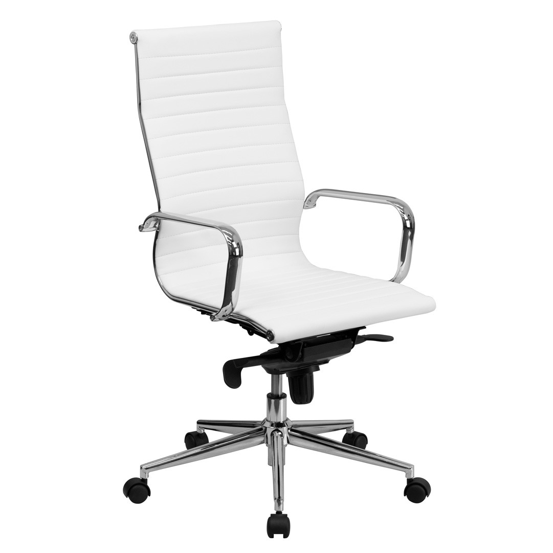 Best ideas about White Office Chair . Save or Pin High Back White Ribbed Upholstered Leather Executive Now.
