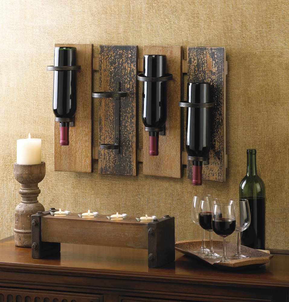 Best ideas about Wine Rack Wall Decor . Save or Pin Wall Mounted Wine Rack Wood Wrought Iron Bottle Holder Now.