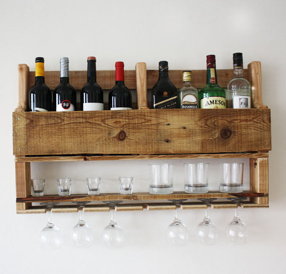 Best ideas about Wine Rack Wall Decor . Save or Pin Wine rack wall mounted alcohol bar wall decor wooden rustic Now.