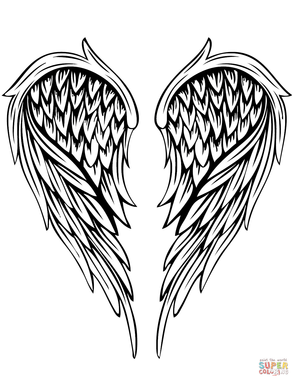 Wings Coloring Pages  Angel Wings Tattoo coloring page