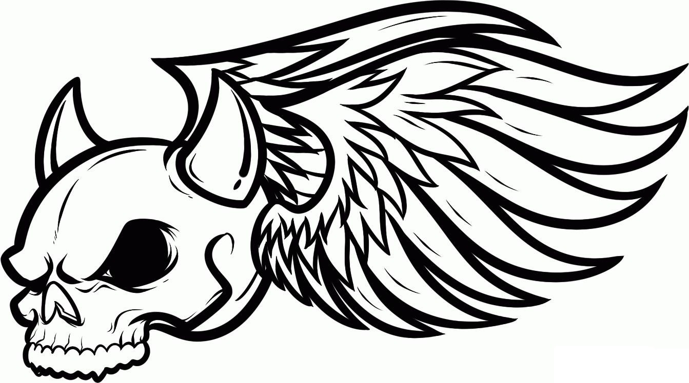 Wings Coloring Pages  Free Printable Skull Coloring Pages For Kids
