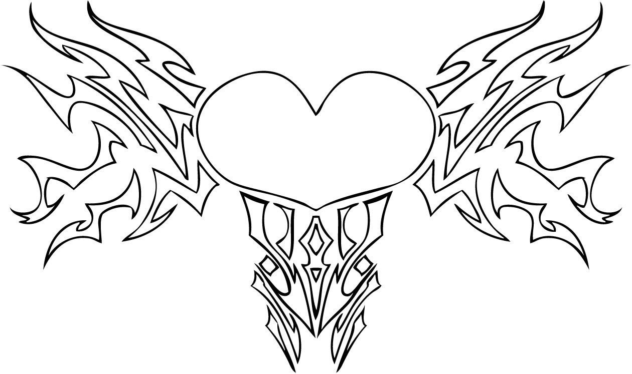 Wings Coloring Pages  hearts with wings coloring pages