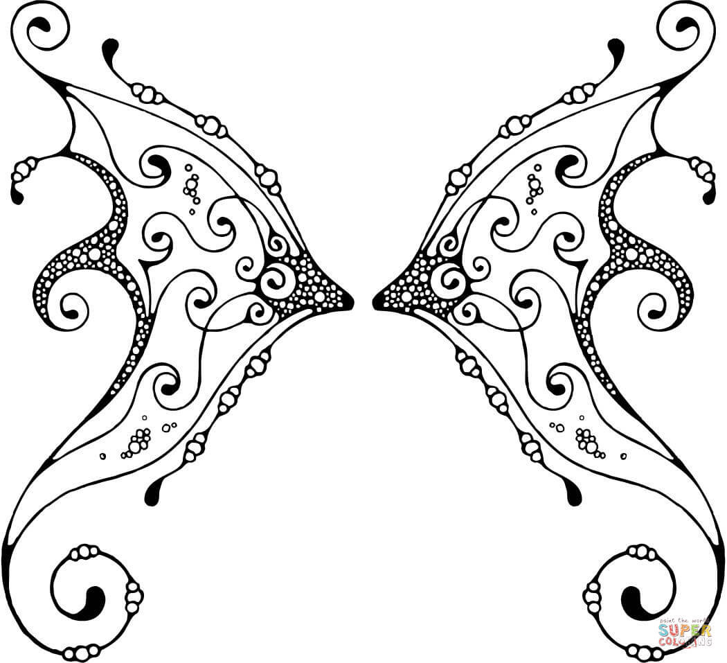 Wings Coloring Pages  Fairy Wing with Pattern coloring page