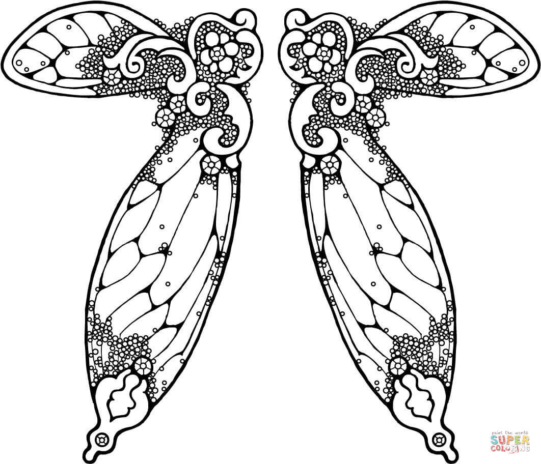 Wings Coloring Pages  Fairy Wings Illustration coloring page