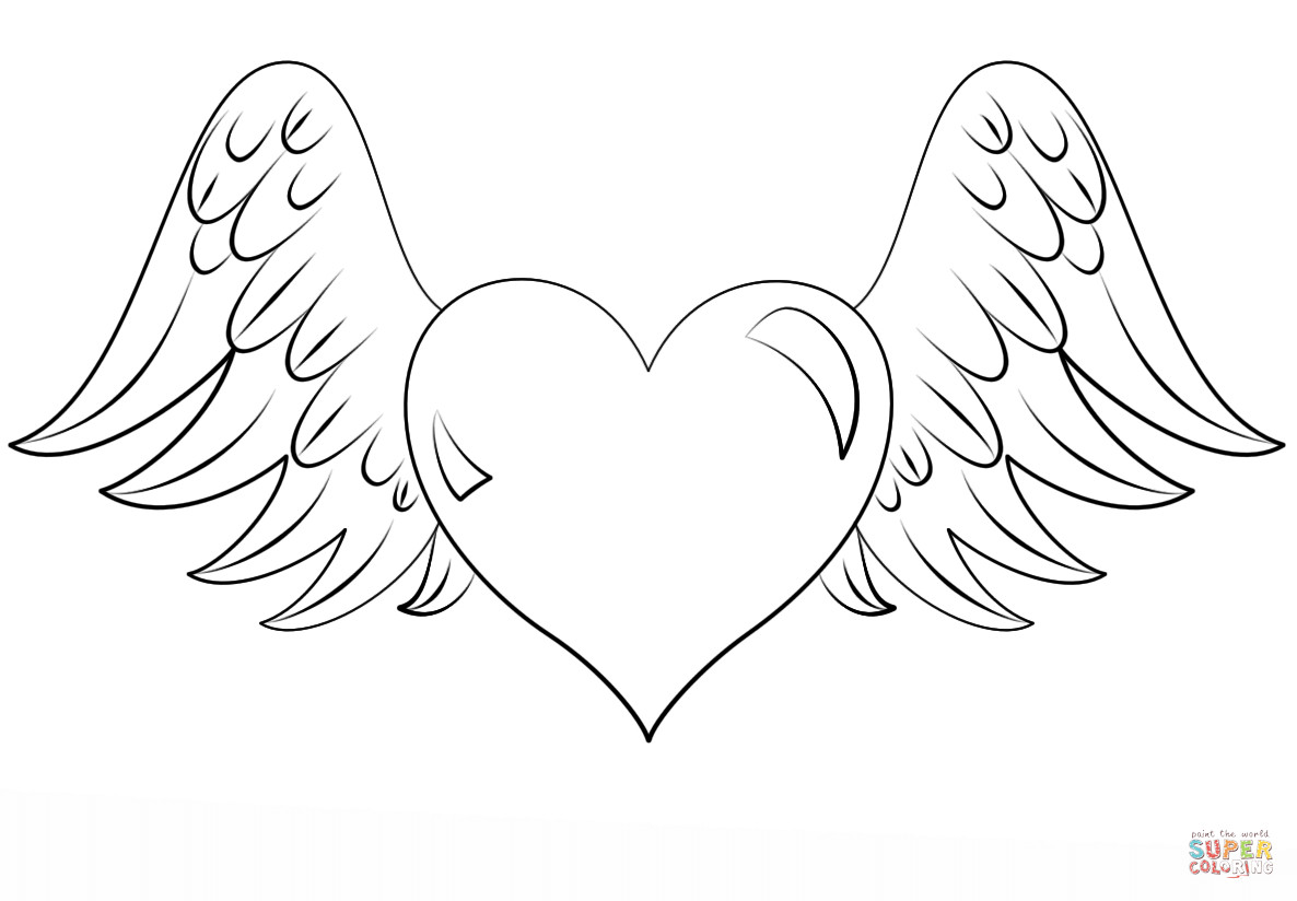 Wings Coloring Pages  Heart with Wings coloring page