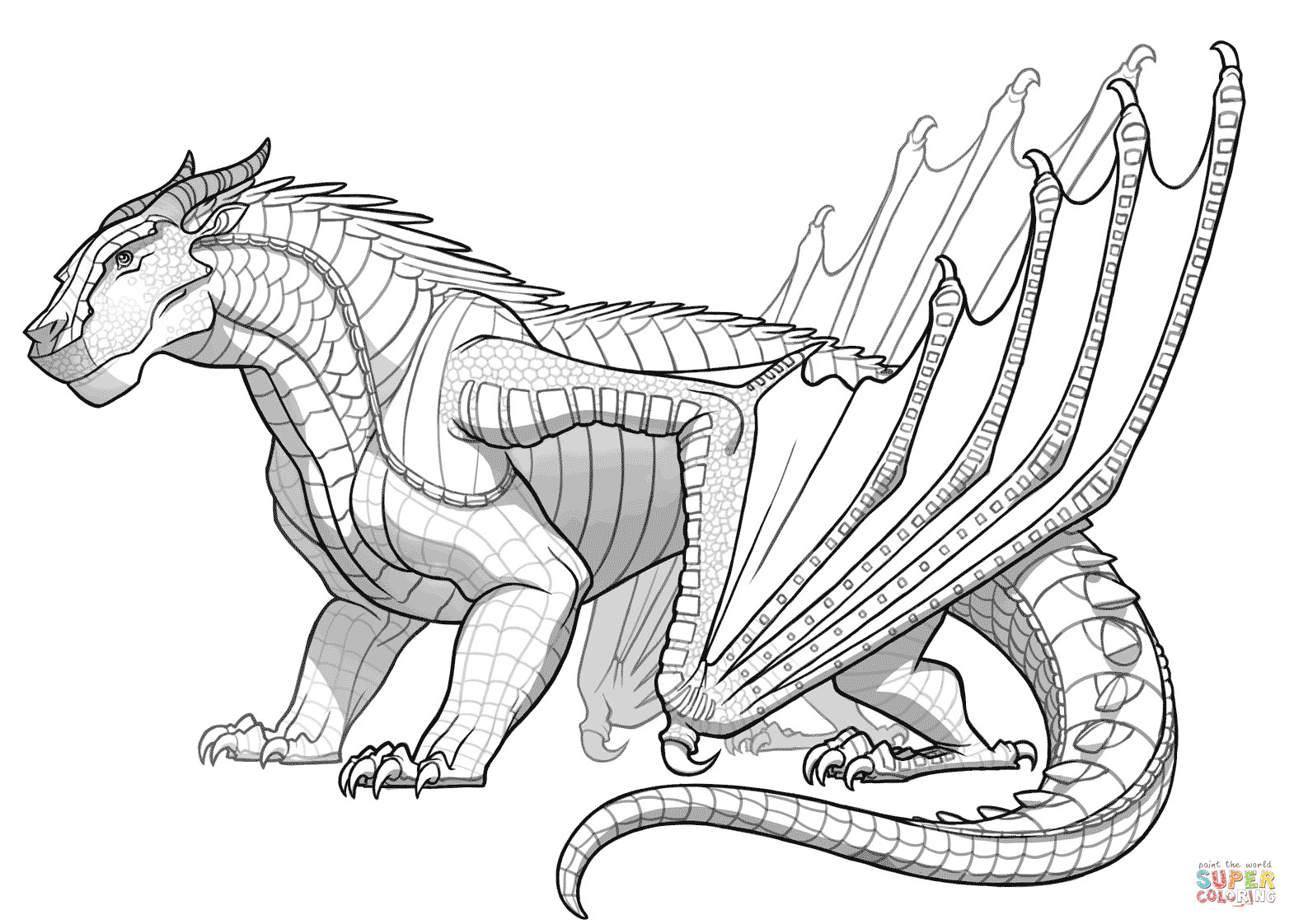 Wings Of Fire Coloring Pages  Mudwing Dragon from Wings of Fire coloring page