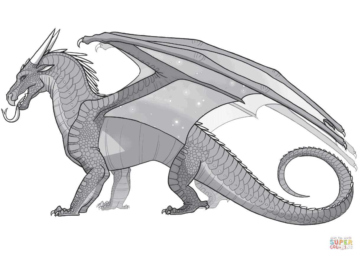 Wings Of Fire Coloring Pages  Wings of Fire Nightwing Dragon coloring page