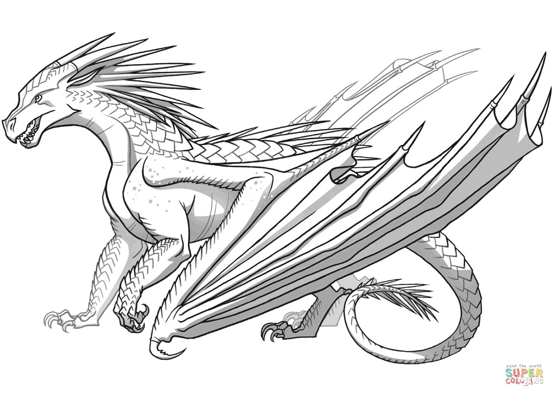 Wings Of Fire Coloring Pages  Icewing Dragon from Wings of Fire coloring page