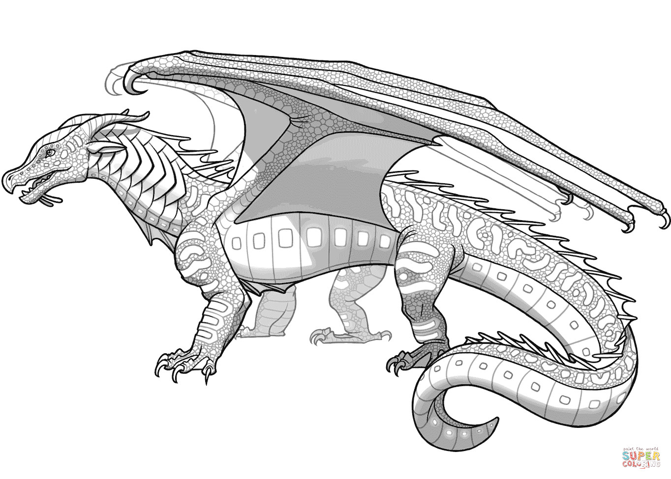 Wings Of Fire Coloring Pages  Seawings Dragon from Wings of Fire coloring page