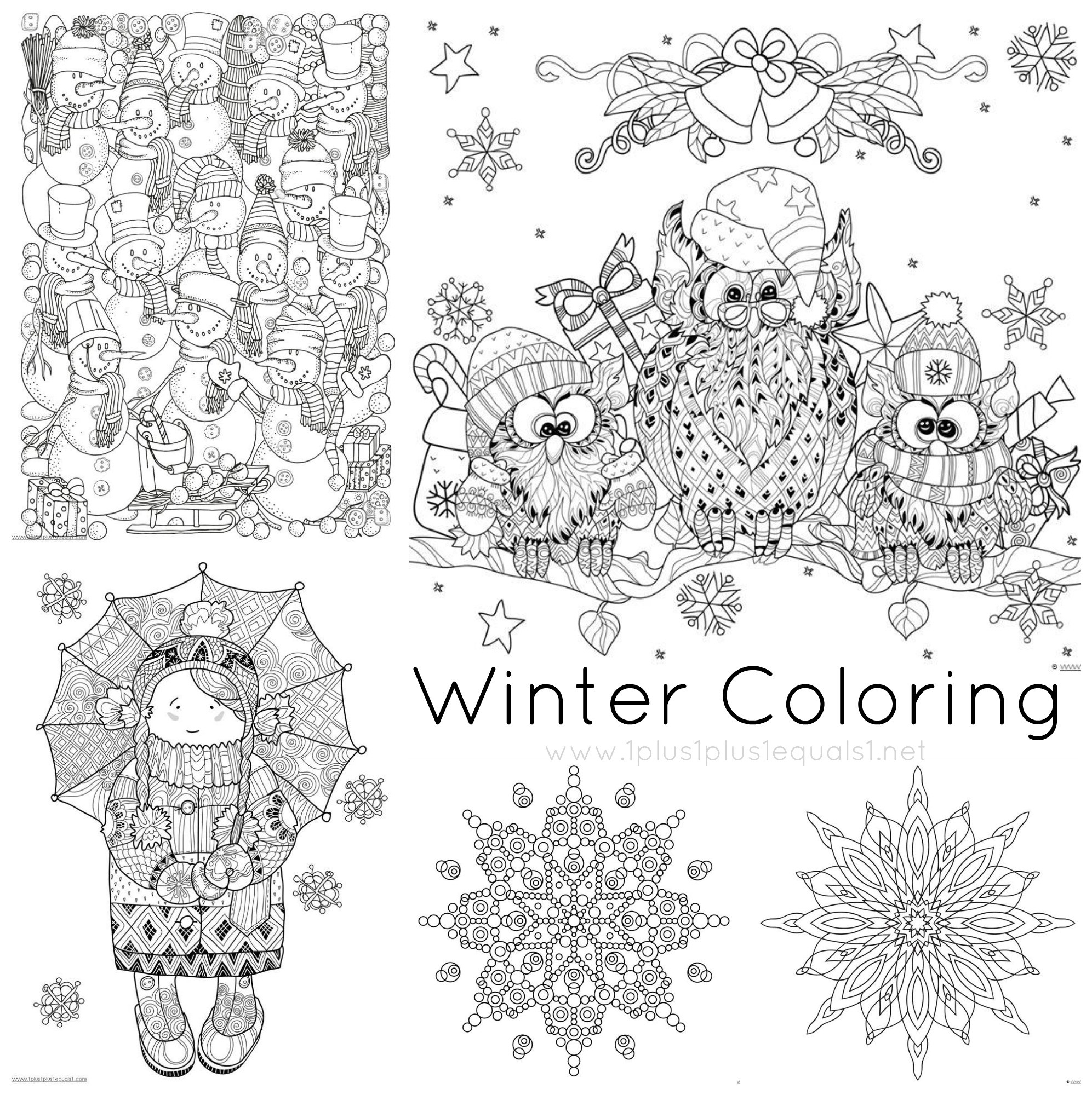 Winter Adult Coloring Pages  Just Color Free Coloring Printables