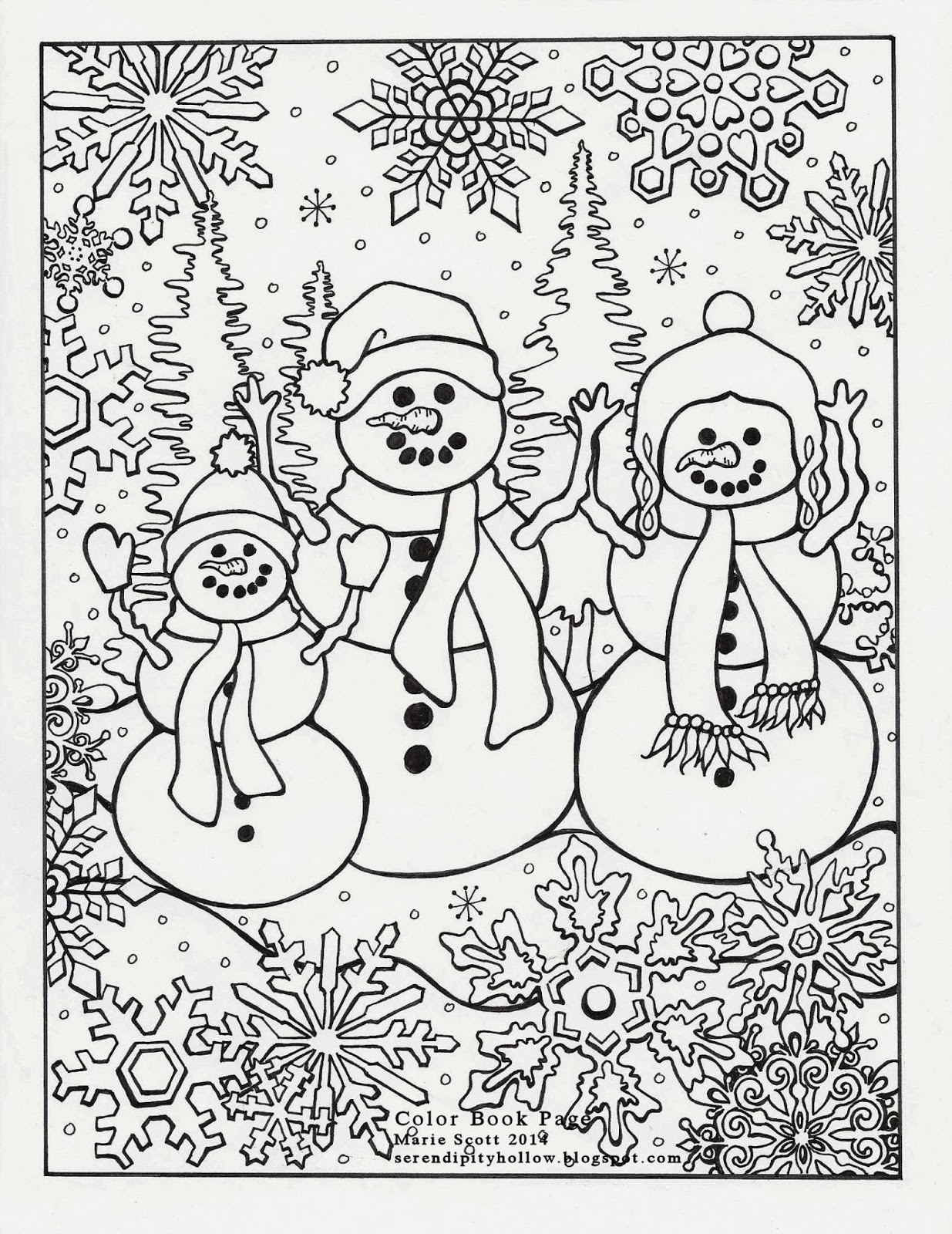 Winter Adult Coloring Pages  Serendipity Hollow Winter Coloring Book Page