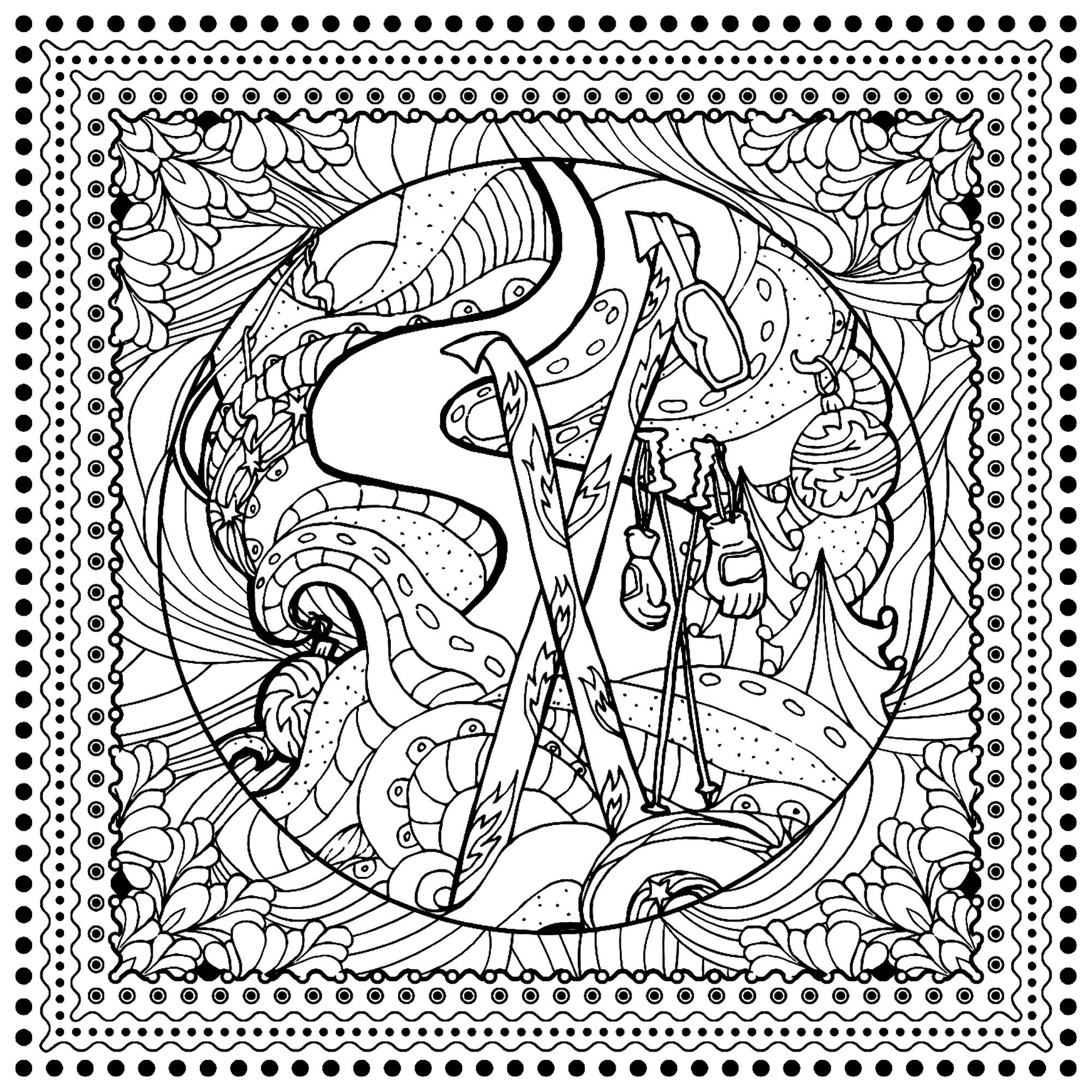 Winter Adult Coloring Pages  Winter sports ilonitta Christmas Adult Coloring Pages