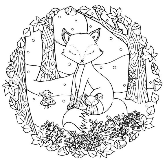 Winter Adult Coloring Pages  ADULT COLORING PAGE Christmas Winter Woodland Cosy Foxes Adult