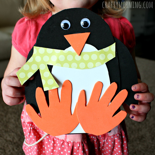 Best ideas about Winter Craft For Kids . Save or Pin Handprint Penguin Craft for Kids to Make Crafty Morning Now.