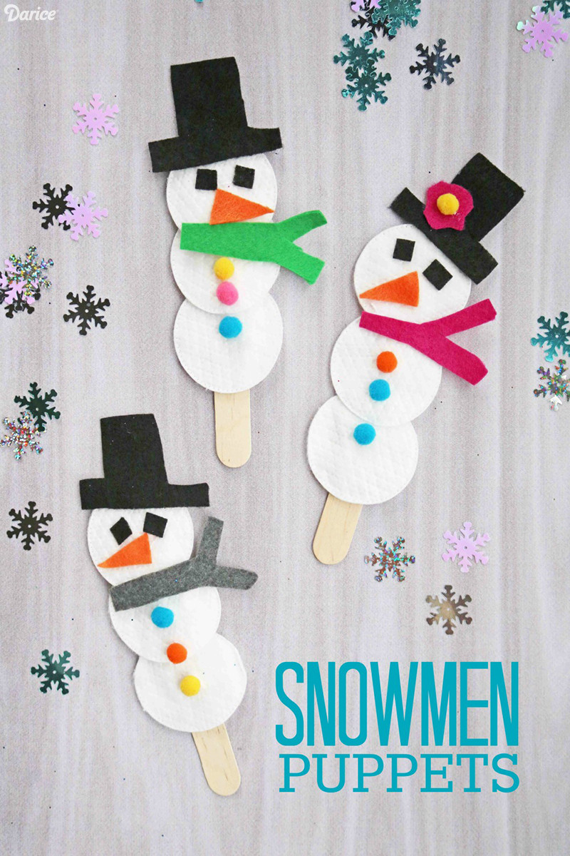 Best ideas about Winter Craft For Kids . Save or Pin Snowman Puppet Easy Winter Craft for Kids Darice Now.
