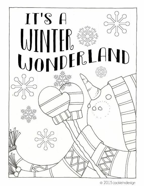 Winter Wonderland Coloring Pages  Items similar to Winter Wonderland Coloring Page PDF