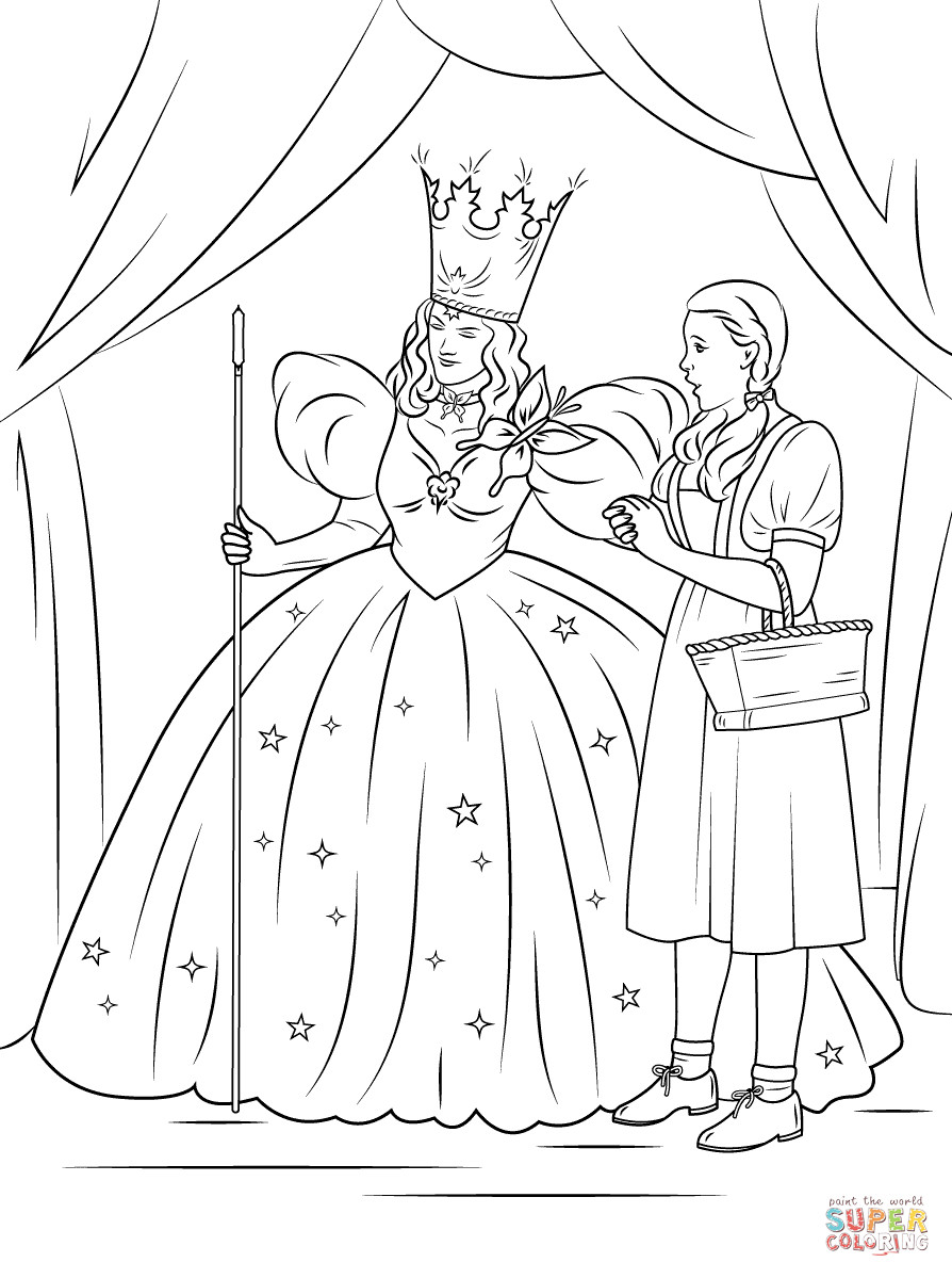 Best ideas about Wizard Of Oz Free Coloring Sheets . Save or Pin Dorothy with Glinda The Good Witch of The North coloring Now.