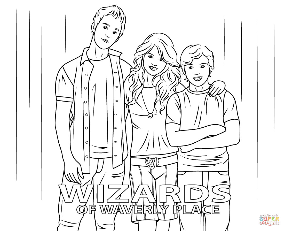 Wizards Of Waverly Place Printable Coloring Pages  Justin Max and Alex from Wizards of Waverly Place coloring