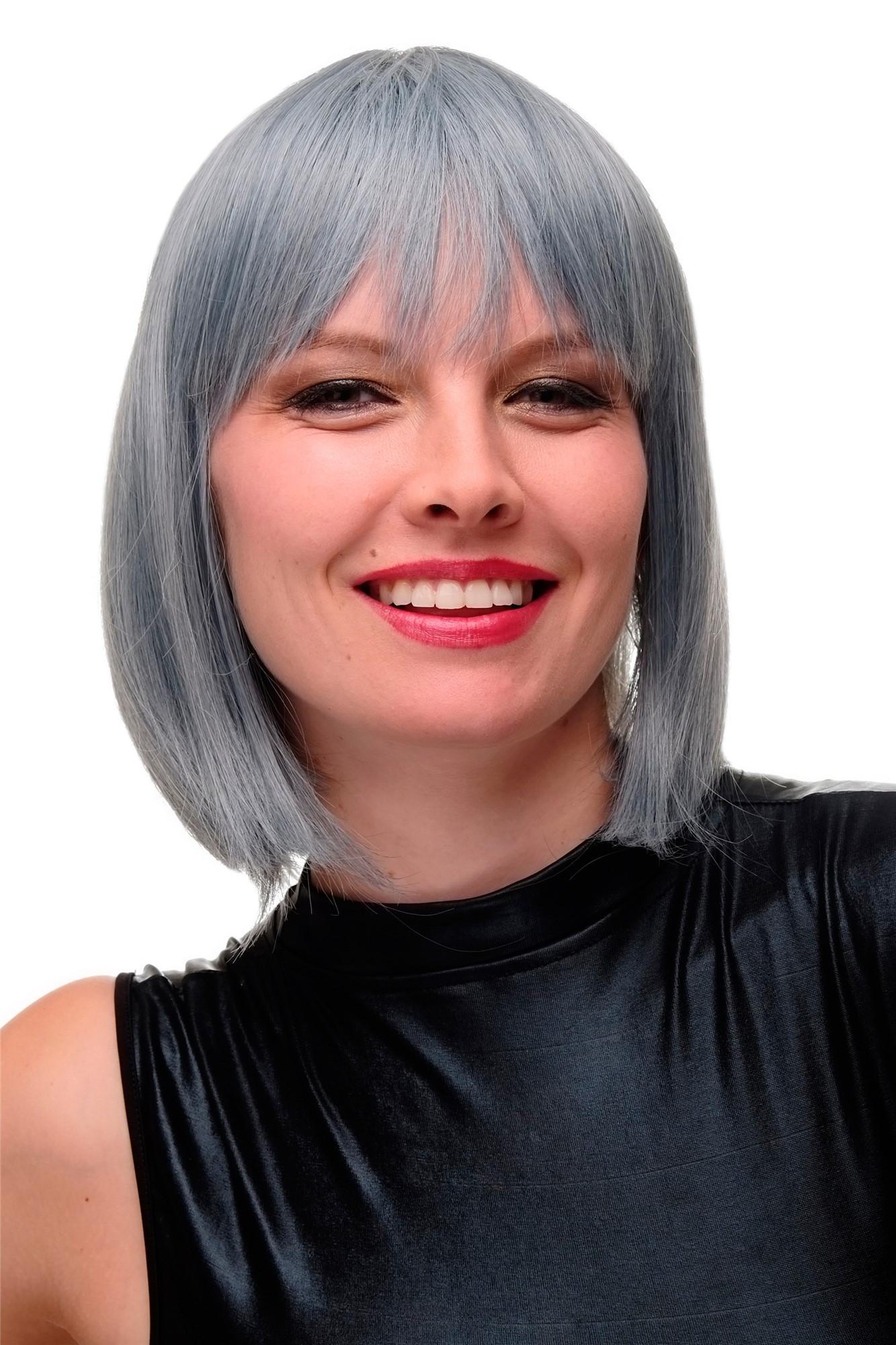 Women'S Bob Haircuts  Women s Wig Bob Short Fringe Blue White grey Mix