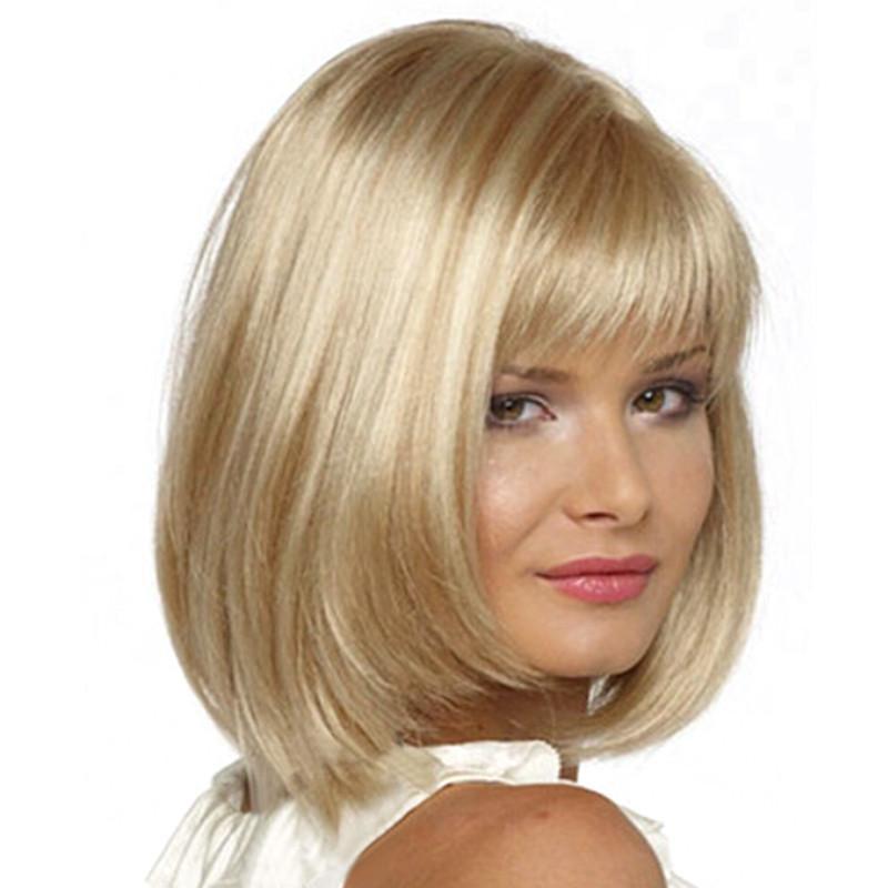 Women'S Bob Haircuts  La s y Fashion wig New Women s short Mix Blonde