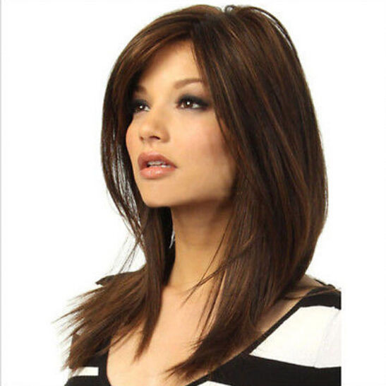 Best ideas about Women'S Medium Haircuts . Save or Pin Fashion wig New Women s Medium long Dark Brown Now.
