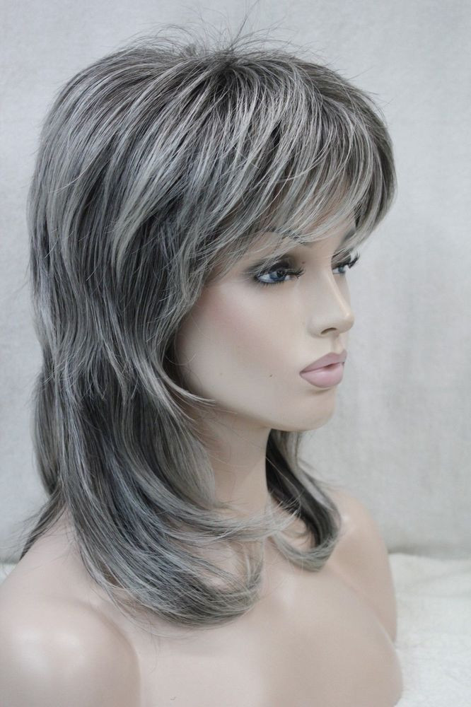 Best ideas about Women'S Medium Haircuts . Save or Pin New women s wig medium length grey layered shoulder long Now.