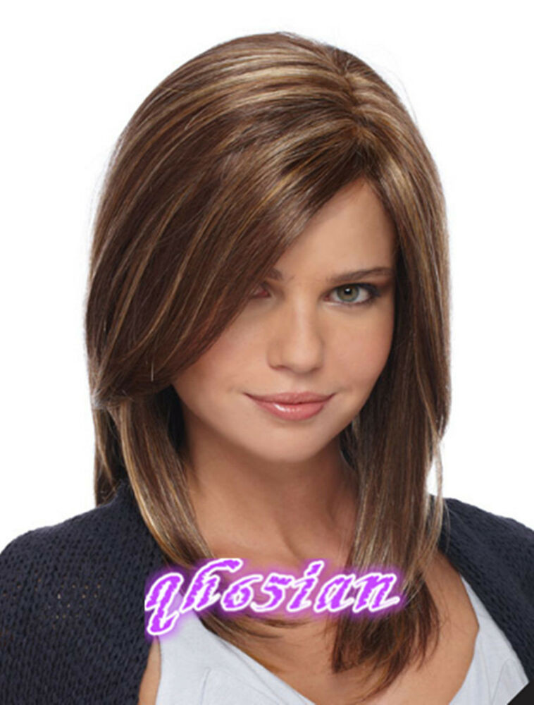 Best ideas about Women'S Medium Haircuts . Save or Pin New Fashion wig Charm Women s Medium long Brown Mix Blonde Now.