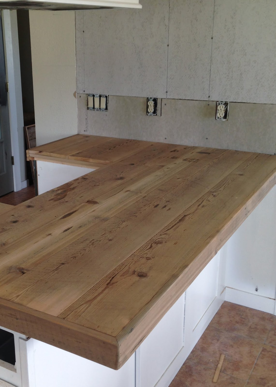 Wood Countertops DIY  DIY Reclaimed Wood Countertop