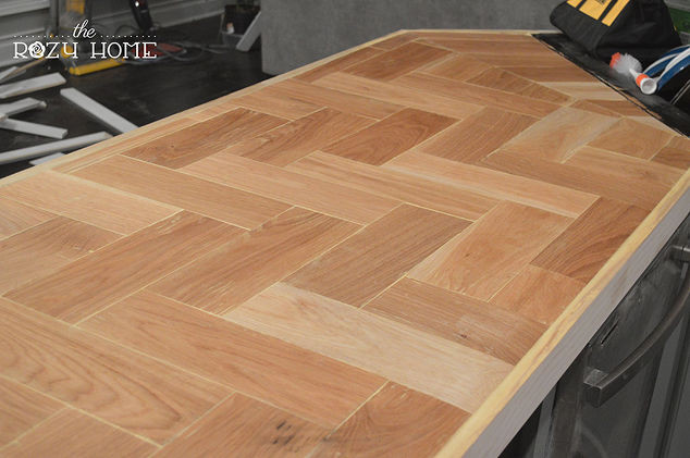 Wood Countertops DIY  DIY Wood Herringbone Counters