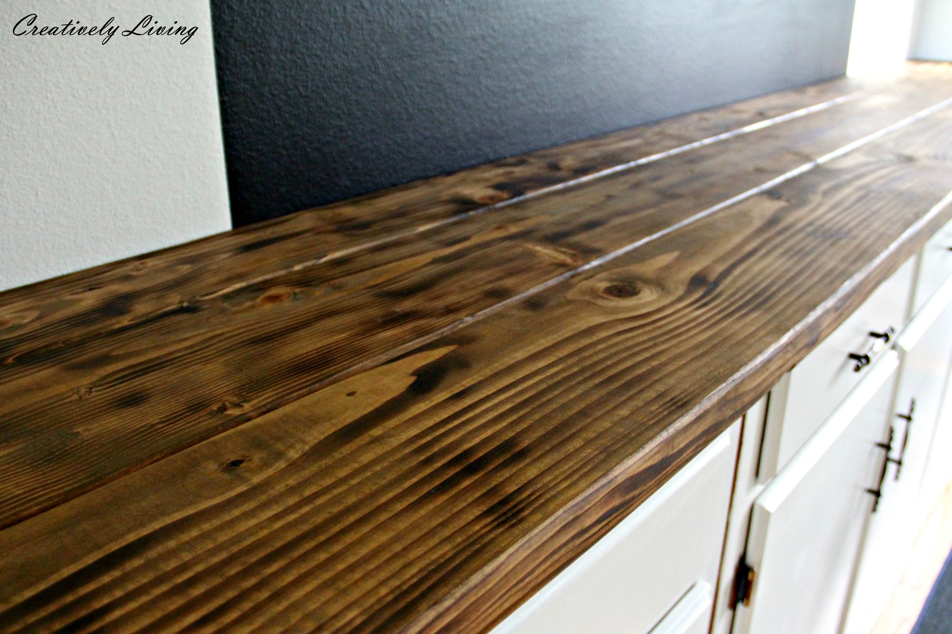 Wood Countertops DIY  Torched DIY Rustic Wood Counter Top for Under $50 by