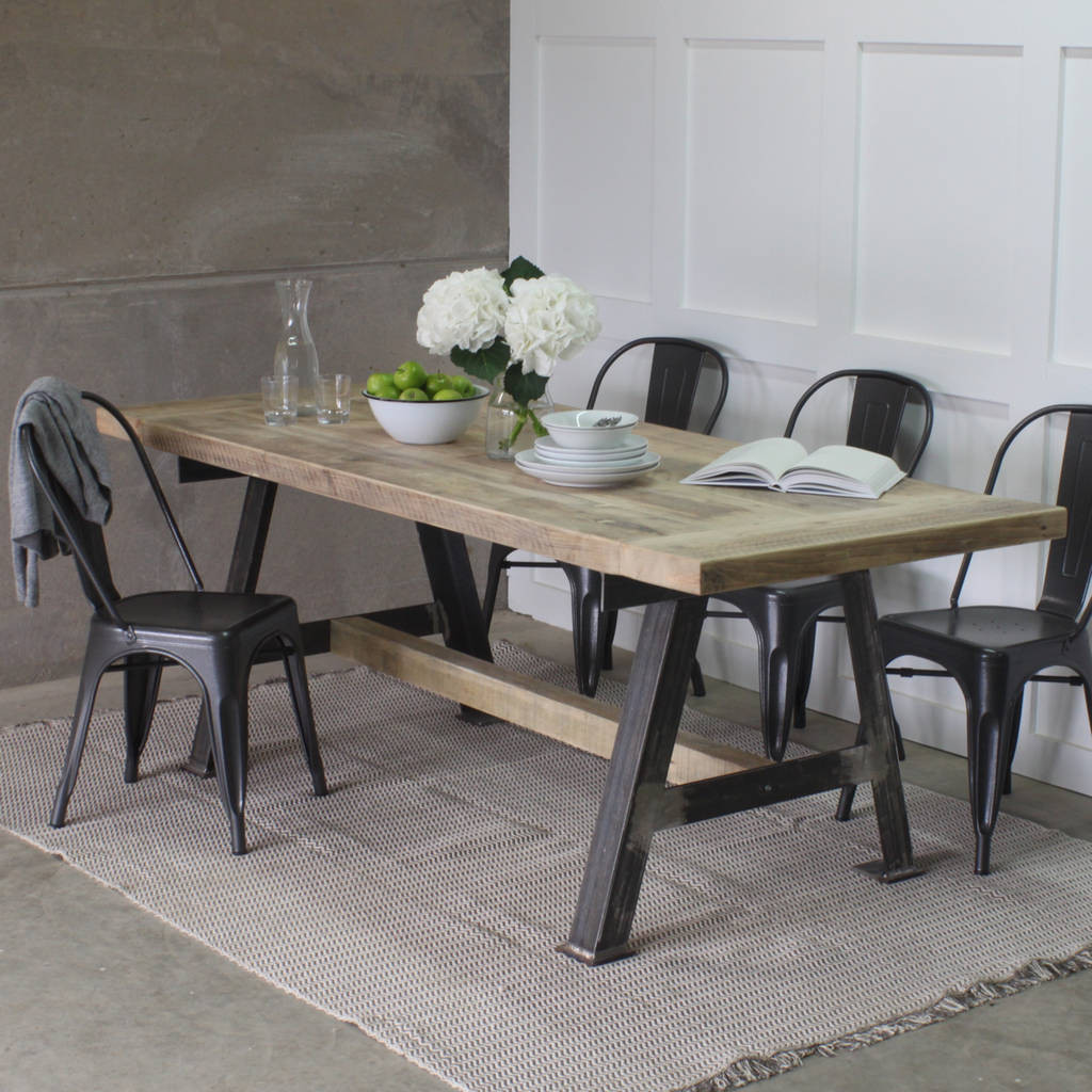 Best ideas about Wood Dining Table . Save or Pin a game reclaimed wood dining table with steel a frame by Now.