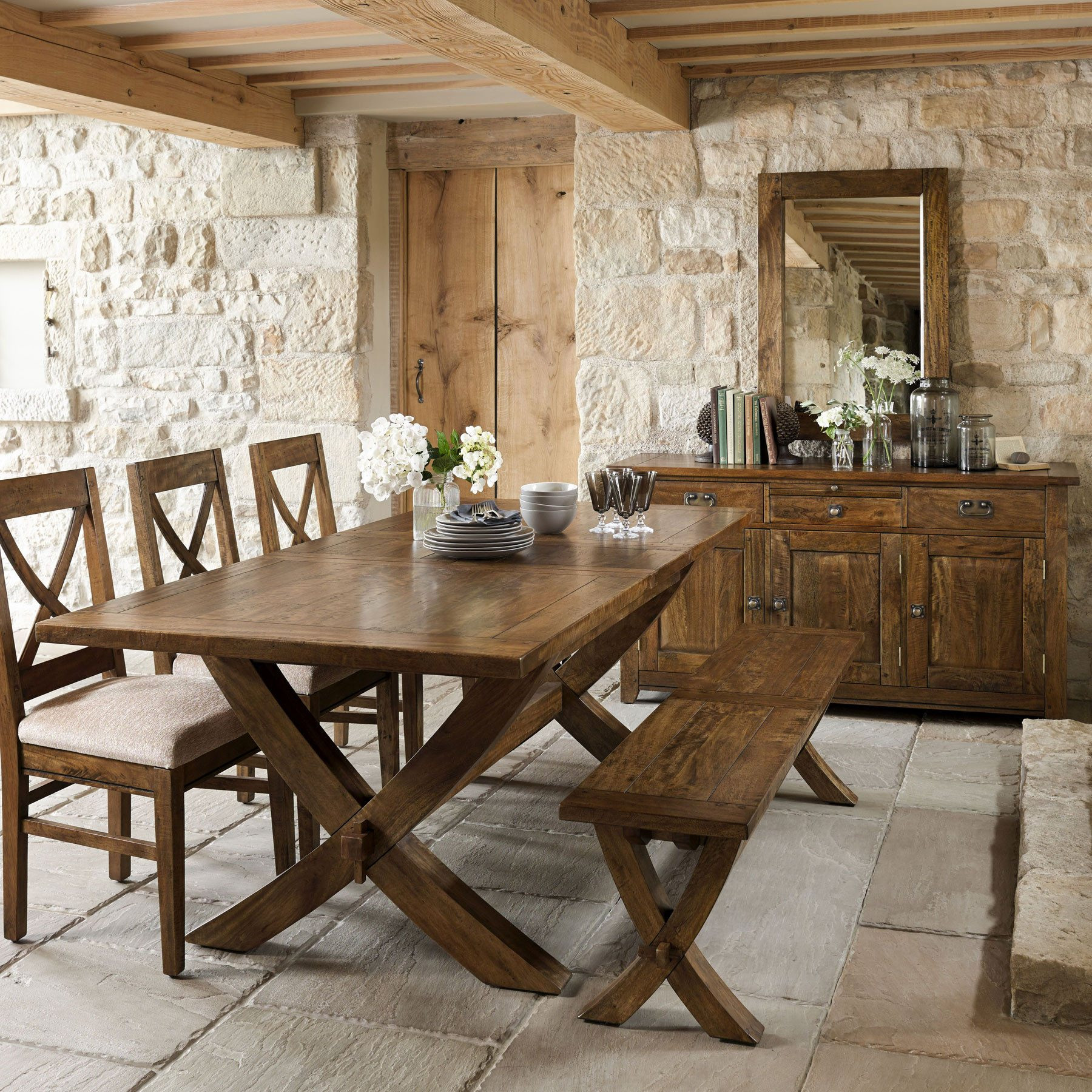Best ideas about Wood Dining Table . Save or Pin Axbridge Mango Wood Extending X Leg Dining Table & 6 Chairs Now.