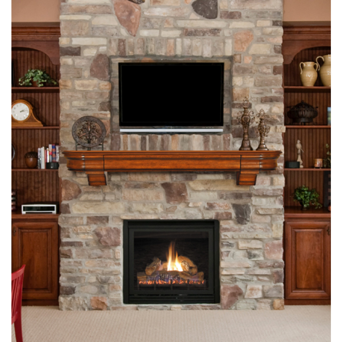 Best ideas about Wood Fireplace Mantels . Save or Pin Natural Wood Fireplace Mantel Shelf With Hidden Drawer Now.