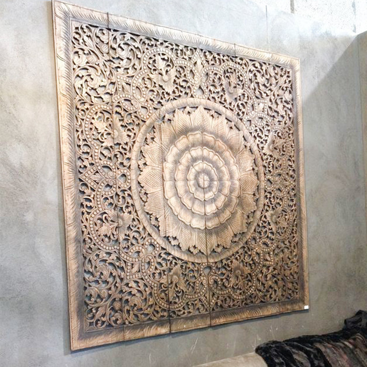 Best ideas about Wood Wall Art . Save or Pin Buy Mandala Carved Wood Wall Art Panel Grey Headboard line Now.